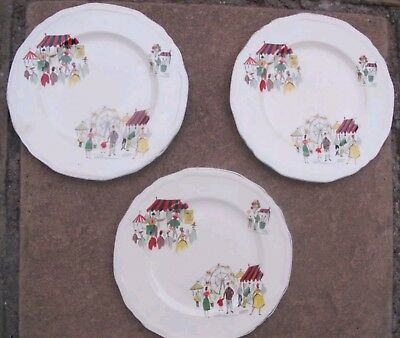 3X ALFRED MEAKIN Side Plates - Vintage 1950s - Circus Pattern