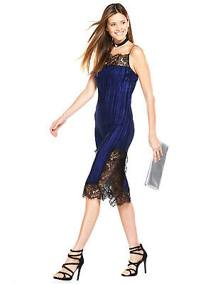 V by Very Lace Trim Pleated Dress