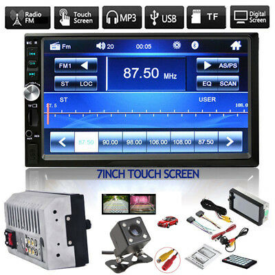 7inch 2DIN Car MP5 Player Bluetooth Touch Screen Stereo Radio HD+Rear Camera #88