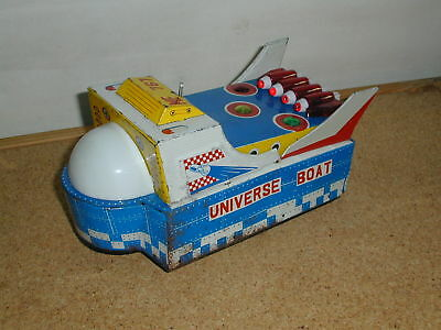 Red China ME 767 Universe Boat Battery Operated Blech Tin Toy 80er Jahre