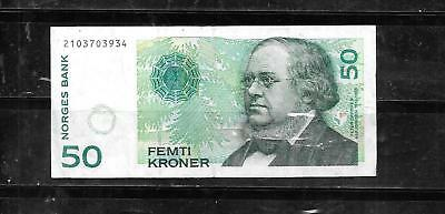 norway #46B 2000 50 kroner vf circ  BANKNOTE PAPER MONEY CURRENCY BILL NOTE