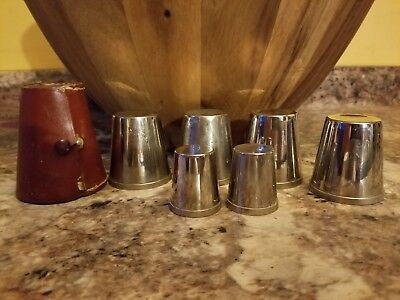 Vintage Rumpp Stainless Steel Nesting 6-Shot Glass Set w/ Leather Case