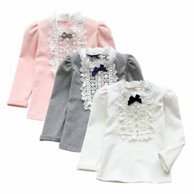 2-8Y Toddler Kids Girls Baby Lace Bowknot Cotton Long Sleeve T-Shirt Blouse Tops