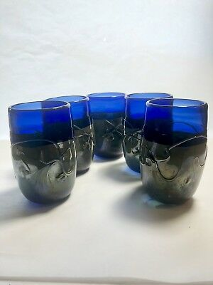 Hand Blown Thick Studio Art Cobalt Blue and Yellow Swirl Glass Tumbler Cups (5)