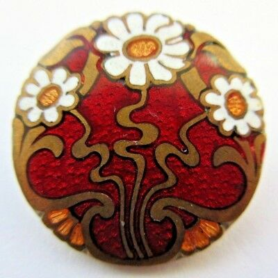 Spectacular Antique~ Vtg Metal ENAMEL BUTTON Red w/ White Daisy Flowers (L)