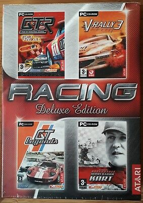 RACING DELUXE EDITION PC CD-ROM 4 GAME SET GTR, V-RALLY 3, SCHUMACHER etc sealed