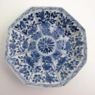 18Th Century Chinese Blue And White Octagonal Porcelain Saucer, Kangxi Period