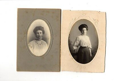 Two Edwardian Cabin Style Photographs Of Young Ladies