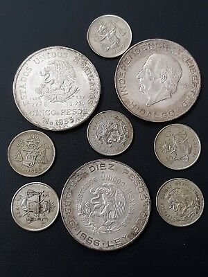 9 Silver Mexican Coins.  All From The 1950s