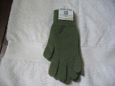 Brand New With Tags Pair Vintage Ladies Gloves Tesco Lambswool, Angora Green