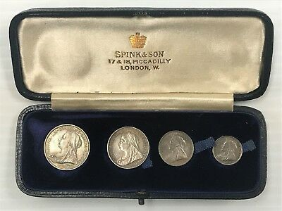 1896 Great Britain Maundy Silver Pence PL 4 Coin 1, 2, 3, 4 Pence in Box *Q4DR