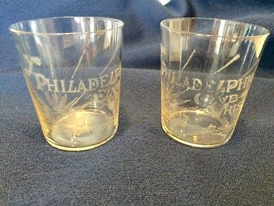 2 Old Ye Philadelphia Club Whiskey Glass Nathans Brothers Large Shot Glass PA