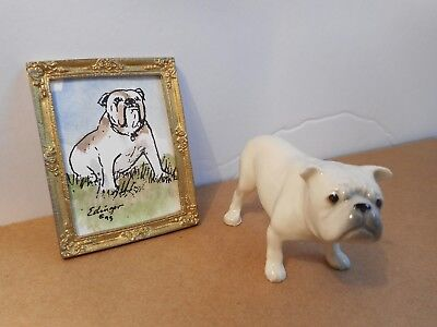 Miniature Artist Made Doll House Porcelain Dog Bulldog & frame Picture Used