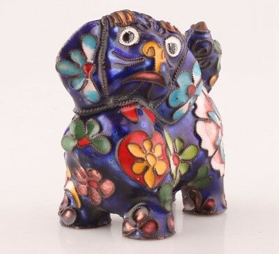 Unique Chinese Cloisonne Statue Dog Old Handmade Gift Christmas Decoration