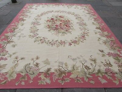 Old Hand Made Traditional French Design Wool Pink Original Aubusson 359X279cm
