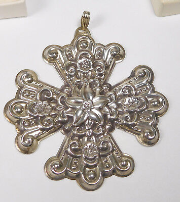 Vintage Reed & Barton Sterling Silver 1974 Christmas Cross Ornament With Box