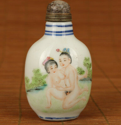 Chinese  Japanese Porcelain Hand painting belle statue art Snuff Bottle noble
