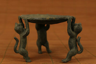 Rare Chinese Old Bronze Handmade cat Statue Oil lamp Candle stick home decoratio