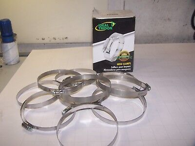 """10) New Ideal Tridon 5372 Stainless Steel Hose Clamps Range 4-1/6""""-5"""" Dia"""