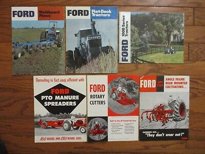 LOT of (6) VINTAGE FORD BROCHURES TRACTORS.SPREADERS, PLOWS..CULTIVATORS.MOWERS