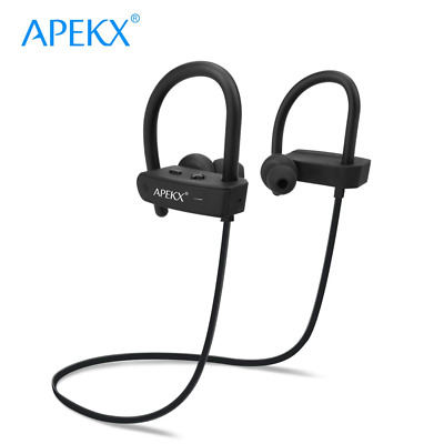 Ear-Hook Sport Earbuds Bluetooth Headphones Sweatproof Earphones with Mic Black
