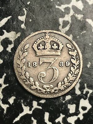 1889 Great Britain 3 Pence Threepence Lot#X9828 Silver!