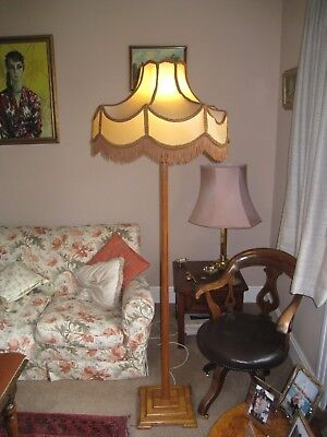 STANDARD LAMP, WOODEN, VERY 1930's WITH SIMILAR PERIOD PARCHMENT SHADE TRIMMED
