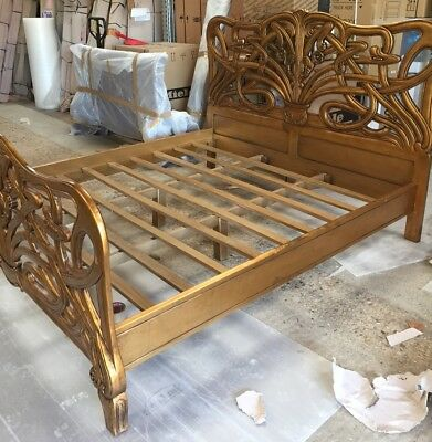 Mahogany 6' Super King Size Cheri Art Nouveau Gilt Gold Bed New Louis 2nd