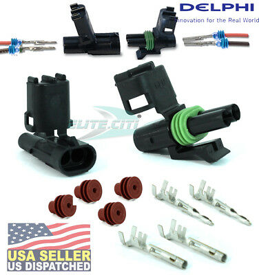 SETS 10 CONDUCTOR CONNECTOR KIT 16-14 WS TEN DELPHI WEATHERPACK 4 PIN