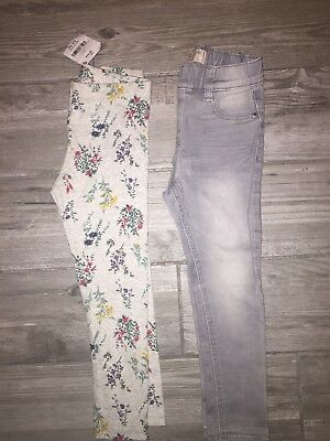 NEXT Girls Grey Skinny Jeans And Floral Leggings Age 4-5 Years BNWT