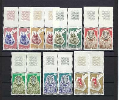 Burkina Faso 1960 Sc# 71-77 Animal mask Wart hog Monkey pairs MNH