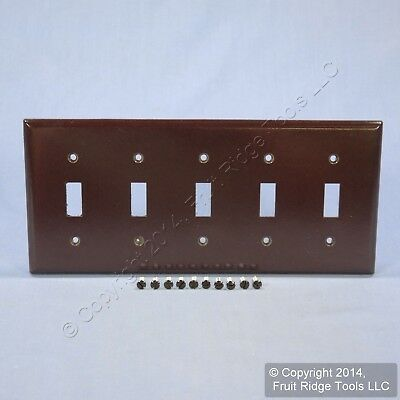 Eagle Brown 5-Gang Toggle Light Switch Cover Thermoset Plastic Wallplate 2155B
