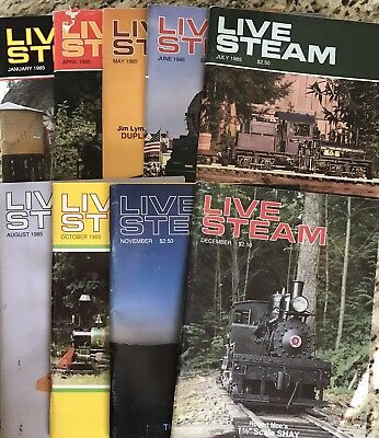 9 Issues 1985 LIVE STEAM Magazine Vintage Hit Miss Engine Train Tractor
