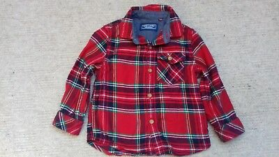 Next baby boys red checked Christmas winter cotton shirt age 12-18 months