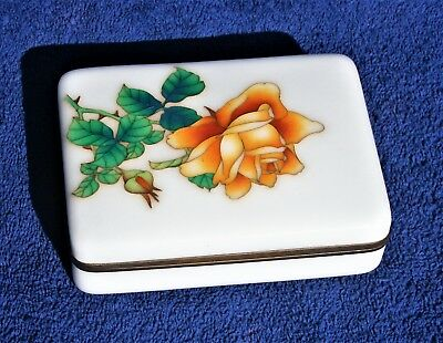 Japanese Ando Cloisonne Box With Rose