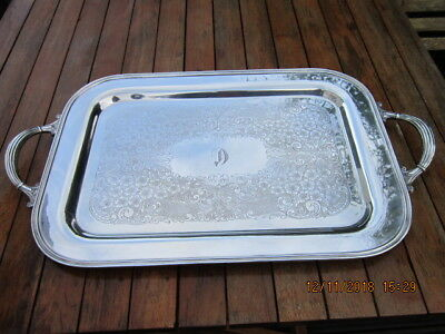 Vintage Silver Plated Rectangular Serving Tray Heavy Gauge 21 Inch REDUCED PRICE