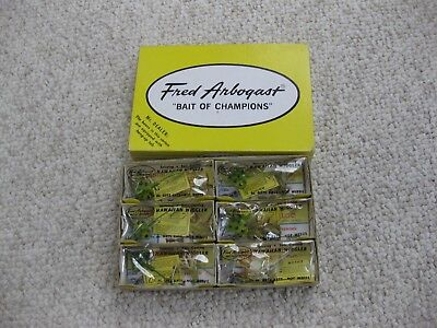 Lot Of (6)Vintage Fred Arbogast Hawaiian Wiggler Baits New,unused In The Box...