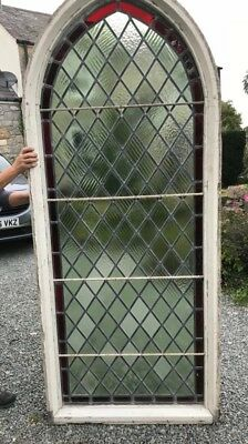 c1890s Victorian leaded chapel window in frame stained glass