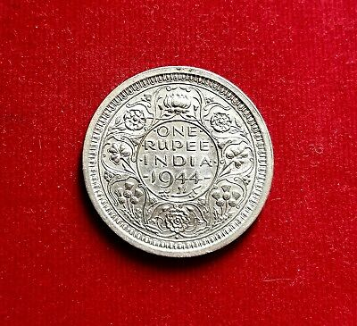 British India Colonial, 1944 One Rupee Coin, King George Vi (Km#557.1) Silver