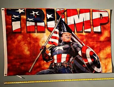 DONALD TRUMP FLAG *!!FREE SHIPPING!!* CAPTAIN AMERICA 2020 3x5""
