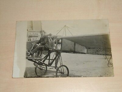 1912 Real Photo IOM Postcard Avaitor In Plane Message Flying Home Tomorrow I.H.M