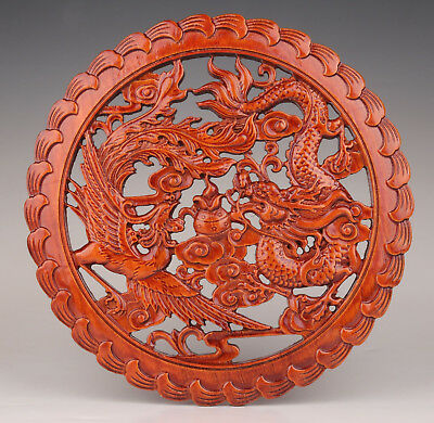 Big Chinese Wood Carving Dragon Phoenix Myth Unique Statue Decoration Plate
