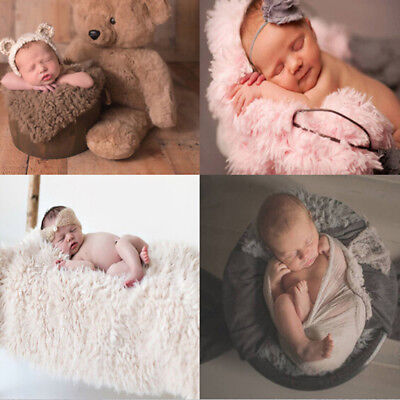 Baby Photo Props Backdrop Newborn Photography Soft Fur Quilt Mat Blanket Rug S