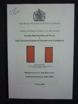BRITISH PRIVATE POSTS & COLLEGE STAMPS OF OXFORD & CAMBRIDGE DISPLAY by C HARMAN