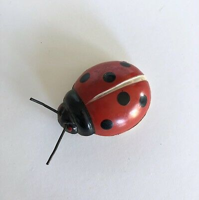 Tin Vintage Old Metal Ladybug Red Lady Bug Brand Mark Korea Refrigerator Magnet