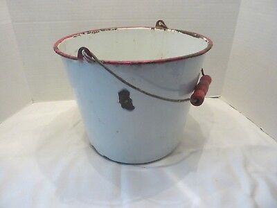 Vintage White Enamel Metal Milk Churn Bucket Pail Wood Handle Plant Pot