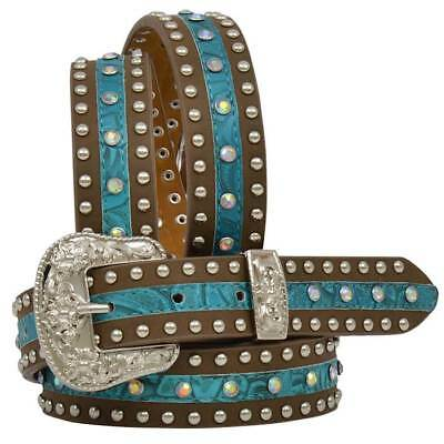 """Angel Ranch Girls 1 1/4"""" Blue Tooled Rhinestone Studded Bling Brown Leather Belt"""