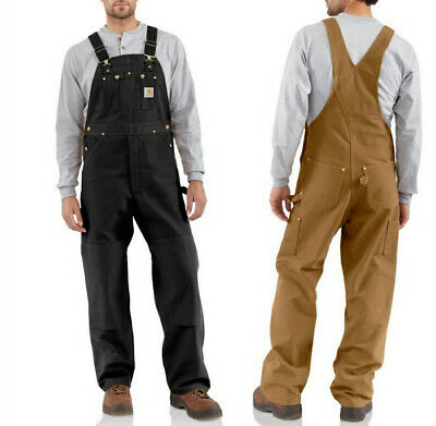 Carhartt Men's Quilt Lined Duck Bib Overall with Zip To Thigh Black or Brown R41