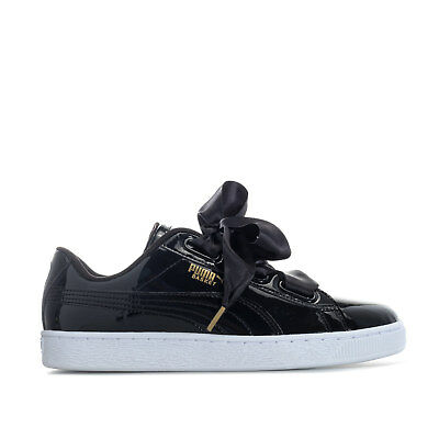 buy popular 338bf d7325 WOMENS PUMA BASKET Heart Patent Trainers In Black