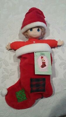 """Vintage 1993 Precious Moments """"Nicholas"""" Doll in Stocking (with Tag)"""